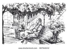 Man is sitting on bench in park. Man is resting under large sprawling tree. Man is resting on bench in small European town. Ink sketch. Black and white illustration
