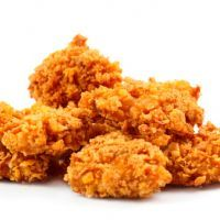 oven fried chicken, diabetic friendly--crushed bagel chips and corn chex coating
