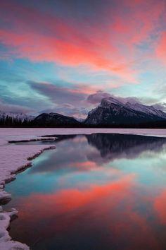 winter reflecting sky
