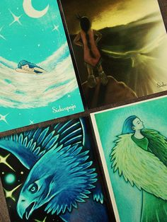 "Set of 4 High Quality Art Postcards, ""Wings"""