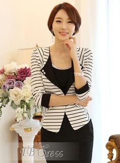Splendid Korean One-Button OL Style Slim Blazer Outwear