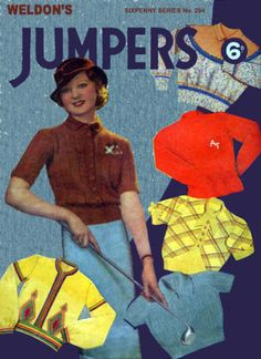 Weldon's 6D #294 c.1930's Depression Era Sweaters Patterns in Knitting & Crochet