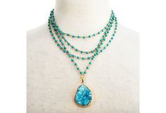 Hand-Cast Gold w/ Aqua Drusy Necklace | Trend Spotting | One Kings Lane
