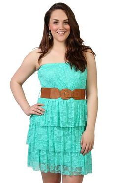 plus size strapless lace dress with triple tier skirt and belted waist