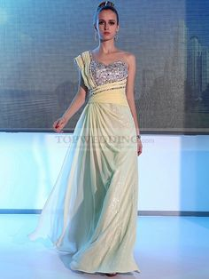 Ruched One Shoulder Allover Sequined Evening Dress with Chiffon Overlay