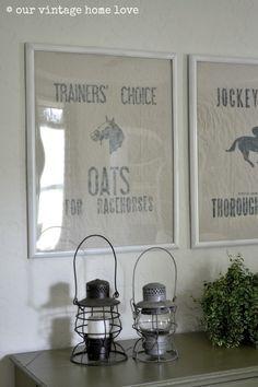 our vintage home love: DIY Vintage Equestrian Feed Sack
