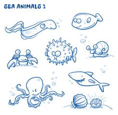 Vektor: Cute cartoon sea water animals. Whale, fish, dophin, jelly, seahorse, snail. Hand drawn doodle vector illustration.