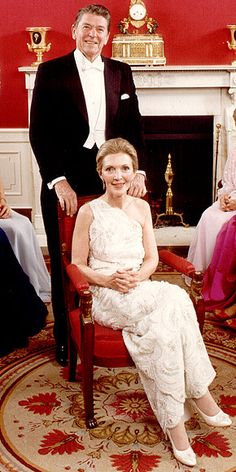 In 1981, 59-year-old Nancy Reagan wore this embroidered lace inaugural gown by James Galanos to husband Ronald Reagan's inauguration, and certainly up-ed the glam level in the White House with it. Description from diaryofpopcultureaddict.blogspot.com. I searched for this on bing.com/images