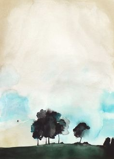 Watercolor Painting  Trees in Art  Landscape Painting Print
