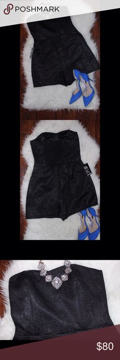 NWT  Super Cute Strapless Romper Black shimmer Express Romper. Perfect for summer outings ❤️ Express Dresses Strapless