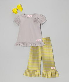 Look at this #zulilyfind! Gray & Yellow Ruffle Tee Set - Infant, Toddler & Girls #zulilyfinds