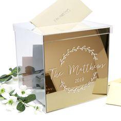 Personalised Mirror Gold Acrylic Printed Wedding Wishing Well - Wedding Decor - Card Box - Memory Box Wedding Memory Box, Card Box Wedding, Wedding Table, Wedding Gifts, Wishing Well Wedding, Gold Invitations, Wedding Memorial, Gift Table, Gold Print