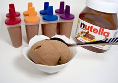 Nutella + banana + blender + freezer. LIFE. CHANGED. 140 calories per popsicle. Move over Skinny Cows. Holy nutella batman