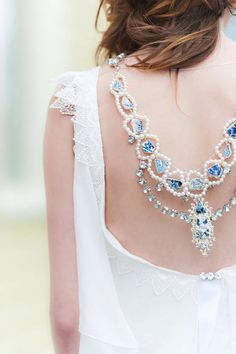 29 Back Wedding Necklaces – The Hottest Trend Right Now: #11. Blue statement necklace with pearls