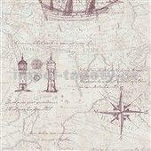 Vliesové tapety na zeď Times mapa tmavá staro růžová