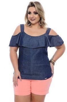Blusa plus size nira Plus Size Jeans, Plus Size Blouses, Plus Size Dresses, Plus Size Outfits, Plus Size Fashion For Women, Plus Size Womens Clothing, Clothes For Women, Big Girl Fashion, Curvy Fashion