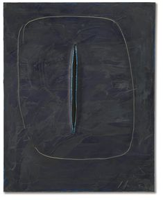 Lucio Fontana 1899 - 1968 CONCETTO SPAZIALE, ATTESA SIGNED, SIGNED, TITLED AND INSCRIBED ON THE REVERSE, OIL, GRAFFITO AND CUT ON CANVAS. EXECUTED IN 1961
