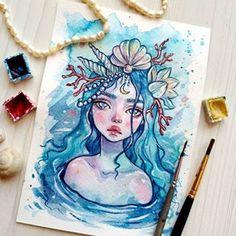 Snake by Psdelux Girl Drawing Sketches, Cool Art Drawings, Mermaid Drawings, Mermaid Art, Dibujos Tumblr A Color, Arte Sketchbook, Marker Art, Illustration Art, Mermaid Illustration