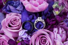 love this bride's ornate engagement ring