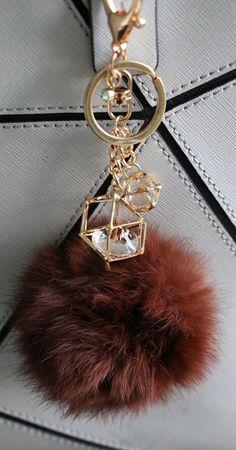 Fur Pom Pom Key Chain and Purse Accessory, Coffee Brown, New!