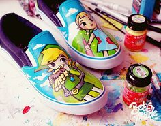 Painted Shoes – DIY - Directions: Take the shoe and sketch your design using a watercolor pencil or a chalk. Paint the shapes in a color you choose (here is white), then continue with the details using some other acrylic paint colors or paint marker pens. At final, apply Mod Podge all over the shoe to seal in paint. Have fun!