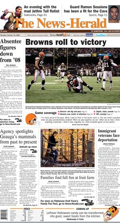 Front page from Oct. Colt McCoy's first career win with the Cleveland Browns Ramon Sessions, Colt Mccoy, Jethro Tull, Cleveland Browns, Career, Carrera, Freshman Year