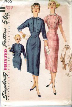 Vintage 1956 Simplicity 1456 One-Piece dress with Detachable Neck Trim & Jacket with Detachable Cuffs Sewing Pattern Size 13 UNCUT