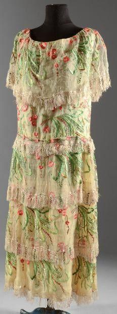 Chiffon Dress - 1920's - Yellow chiffon and gauze cream Japanese décor foliage and plum blossoms predominantly green and pink