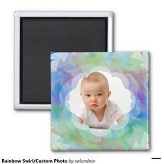 #Rainbow Swirl/Custom Photo 2 Inch Square #Magnet #stockingstuffer #customphoto #babyphoto #family