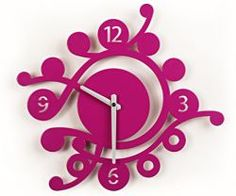 Another clock inspired by spring in trendy  shade of violet. Its coloring perfectly matches  with green, pink and chocolate brown.