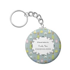 Cute Personalized Lost and Found Mason Jar Flowers Keychain