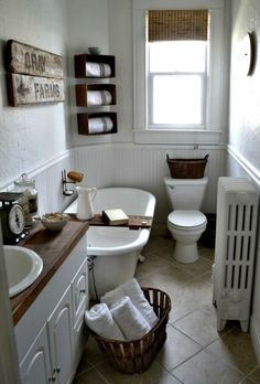 Small vintage bathroom ideas farmhouse bathroom ideas small farmhouse bathroom vintage bathrooms with trash can b . Small Vintage Bathroom, Bathroom Styling, Vintage Bathrooms, Bathroom Decor, Vintage House, House Bathroom, Small Farmhouse Bathroom, Shabby Chic Bathroom, Bathroom Farmhouse Style