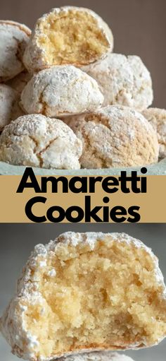 Easy No Bake Desserts, Easy Cookie Recipes, Baking Recipes, Easy Homemade Cookies, Free Recipes, Delicious Desserts, Amaretti Cookie Recipe, Amaretti Cookies, Almond Meal Cookies