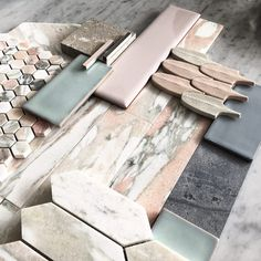 L A S S I C Pink on Pink with a splash of Grey. Our Luxurious OSLO range of Norwegian Pink Marble with Pink Lord high gloss crackle Mood Board Interior, Interior Design Boards, Color Concept, Grey Bathroom Tiles, Tropical Bathroom, Tile Stores, Tadelakt, House Tiles, Budget Bathroom