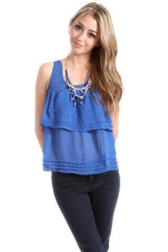 $16 Naked Zebra Tiered and Pleated Tank with Exposed Zipper in Royal Blue : Tops