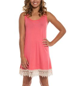 Look what I found on #zulily! Coral Crochet-Trim Sleeveless Dress #zulilyfinds