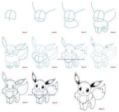 Afbeeldingsresultaat voor pokemon eevee tekenen stap voor stap