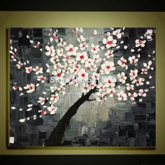 grey black and red paintings | Hand painted Red white flower on black grey wall art picture home ...