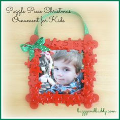ornaments - Christmas Crafts for Kids: Puzzle Piece Frame Christmas Ornament~ Buggy and Buddy
