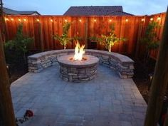 Outdoor Bar, Fire Pit, and Mini Vineyard, This is my husband's dream backyard. It includes an outdoor bar & cooking area, BBQ, fire pit, & mini vineyard. One day we will have patio furniture and chairs by the fire pit, but one thing at a time!, fire pit, built-in stone bench that matches ground pavers, and string lights , Yards Design by Sherri32