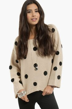 Penny for Your Dots Sweater from Tobi Size S in Sand $30