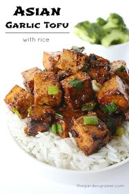 The Garden Grazer: Asian Garlic Tofu with Rice (JK - super easy, yummy, and healthy.  will be a regular on busy week nights)
