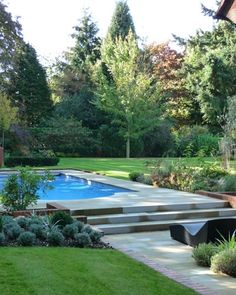 Contemporary pool by Andy Sturgeon Landscape & Garden Design - Um wow. Contemporary pool by Andy Sturgeon Landscape & Garden Design - Backyard Pool Designs, Swimming Pool Designs, Backyard Landscaping, Landscaping Ideas, Big Garden, Water Garden, Family Garden, Landscape Plans, Landscape Design