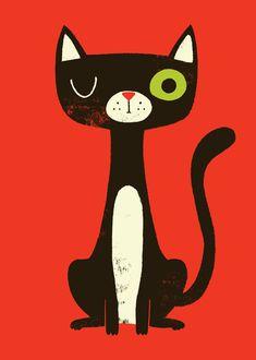 Cats in Art and Illustration: Black Cat by Monster Riot Silkscreen, Black Cat Art, Black Cats, Red Cat, Black Kitty, Drawn Art, Cat Art Print, Art Et Illustration, Animal Illustrations