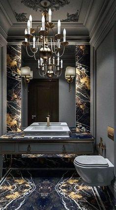 48 Stunning Black Marble Bathroom Design Ideas Beautifully c Modern Master Bathroom, Modern Bathroom Design, Bathroom Interior Design, Home Interior, Small Bathroom, Bath Design, Bathroom Plants, Interior Colors, Master Bathrooms