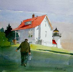 Bill Vrscak WATERCOLOR Curtis Island Light Keeper