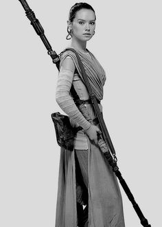 Daisy Ridley as Rey in Star Wars, Episode VII: The Force Awakens.
