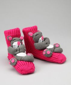 Take a look at this Pink & Gray Cat Slipper Socks by Crazy Sox on #zulily today! $8 !!