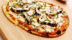 Flatbread Pizzas with Romesco Sauce, Portobello Mushrooms, Mozzarella and Smoked Gouda