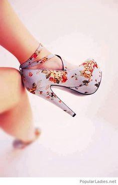 Cute floral high heels